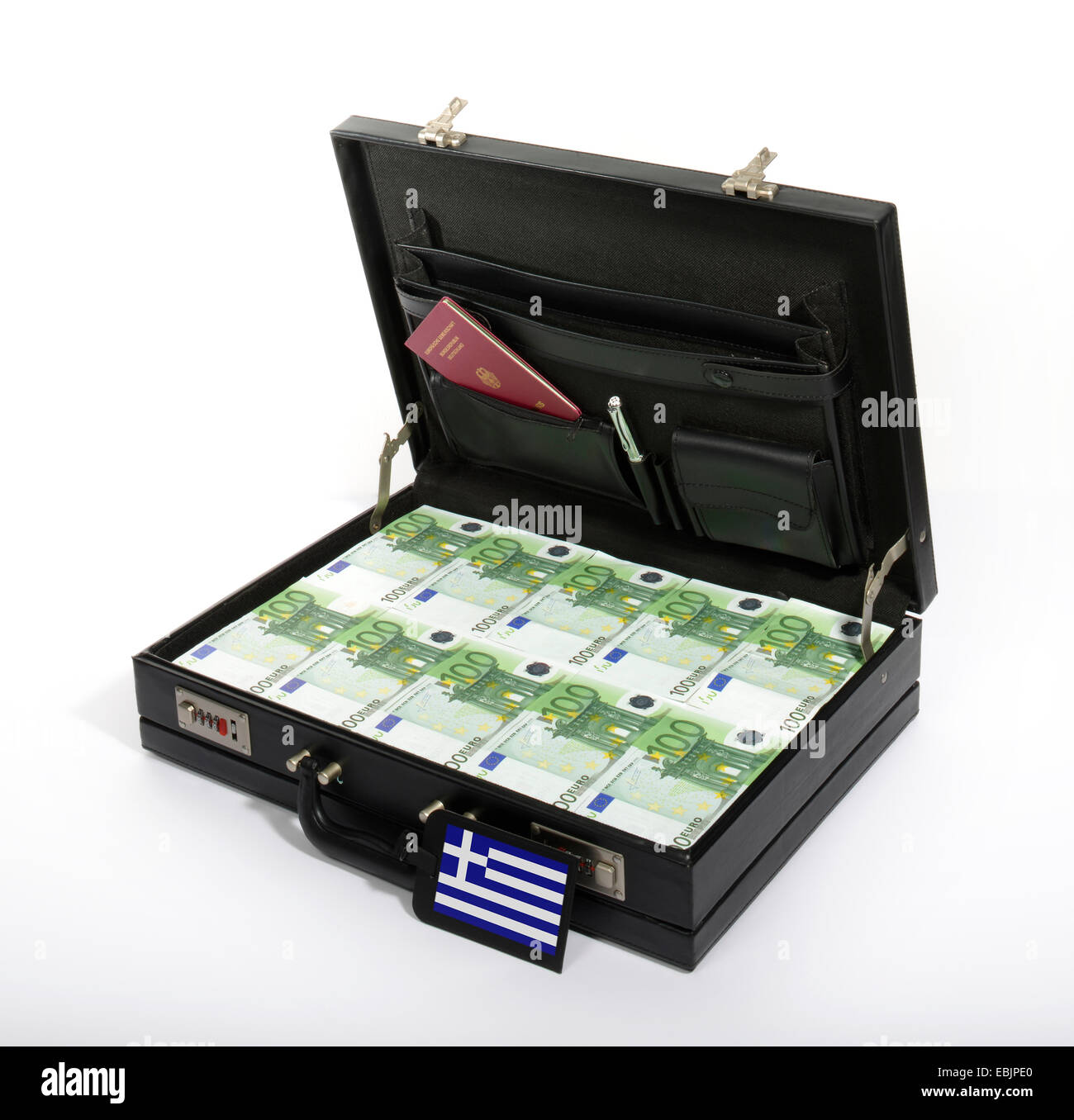case with Euros, injection of capital for Greece Stock Photo