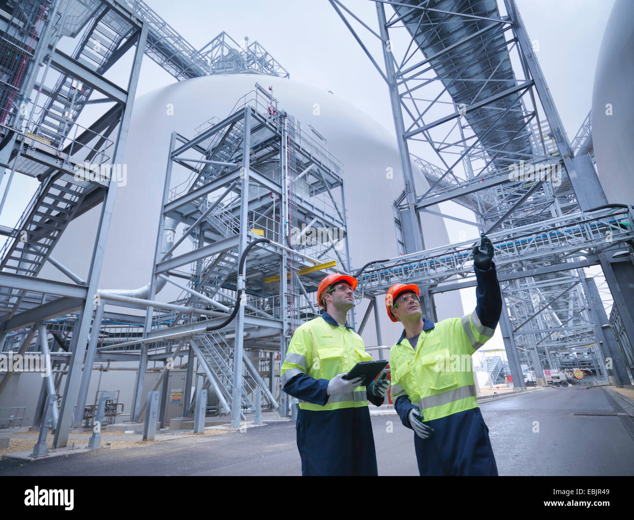 Workers in discussion in biomass facility, low angle view - Stock Image