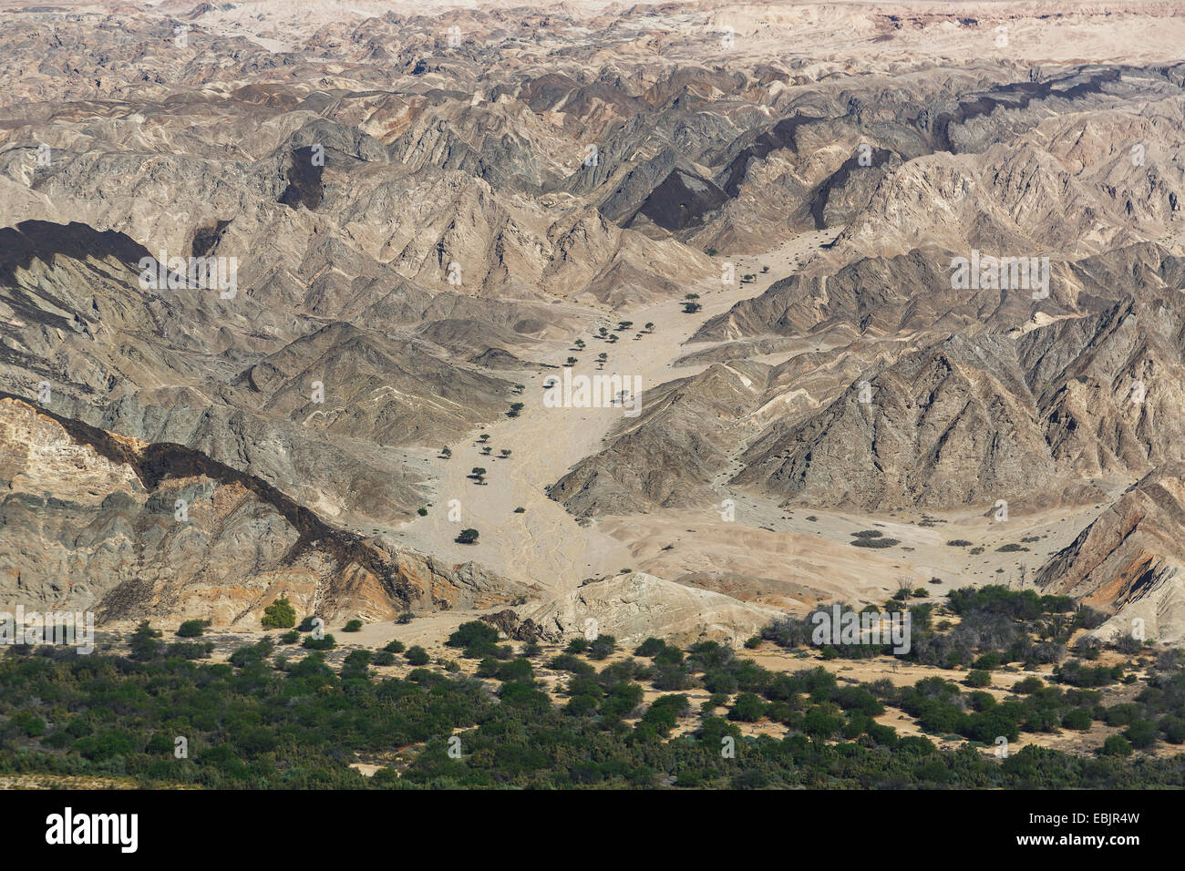 Aerial view of desert and rocks, Moon Valley, Namib Desert, Namibia - Stock Image
