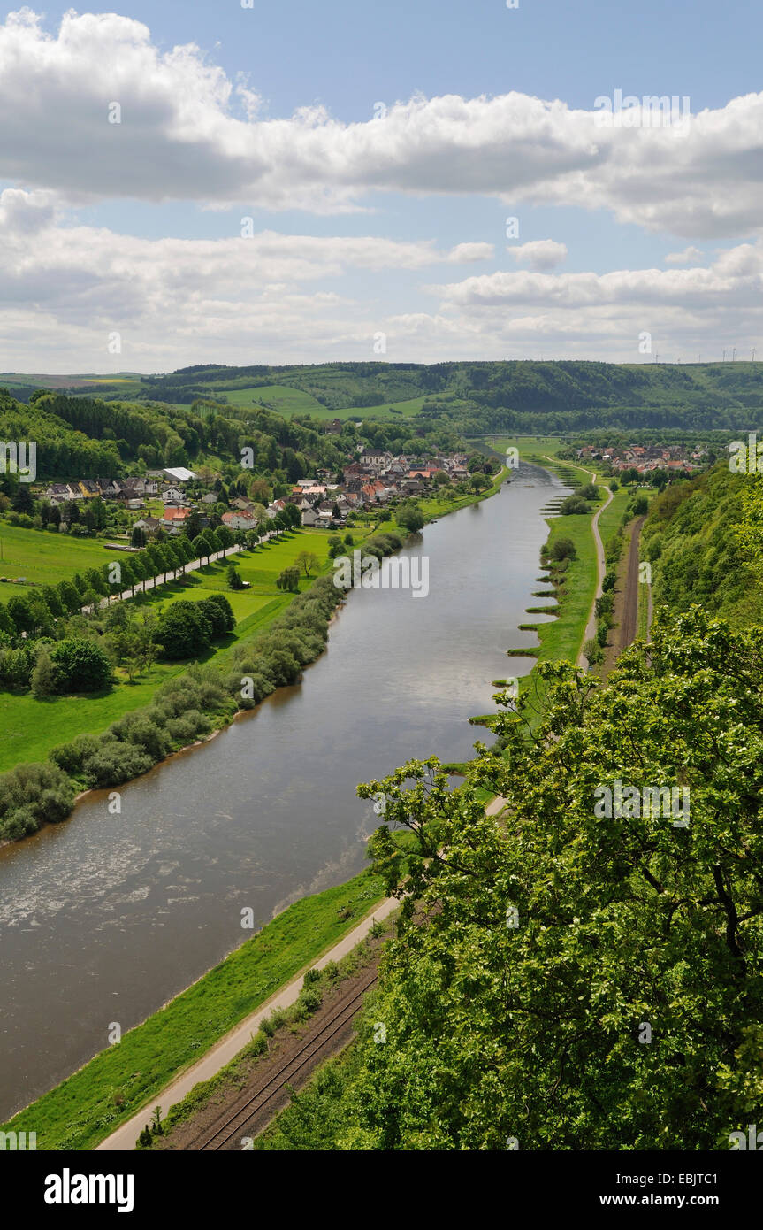 panoramic view over the Weser at the Weserbergland, Germany - Stock Image