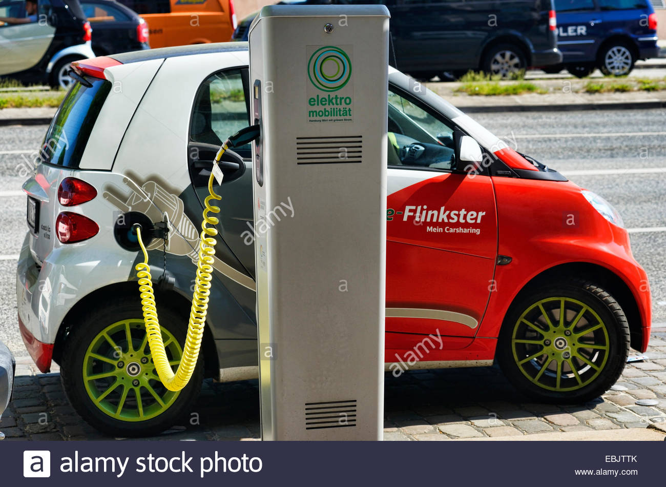 electric car at the recharge station, Germany - Stock Image