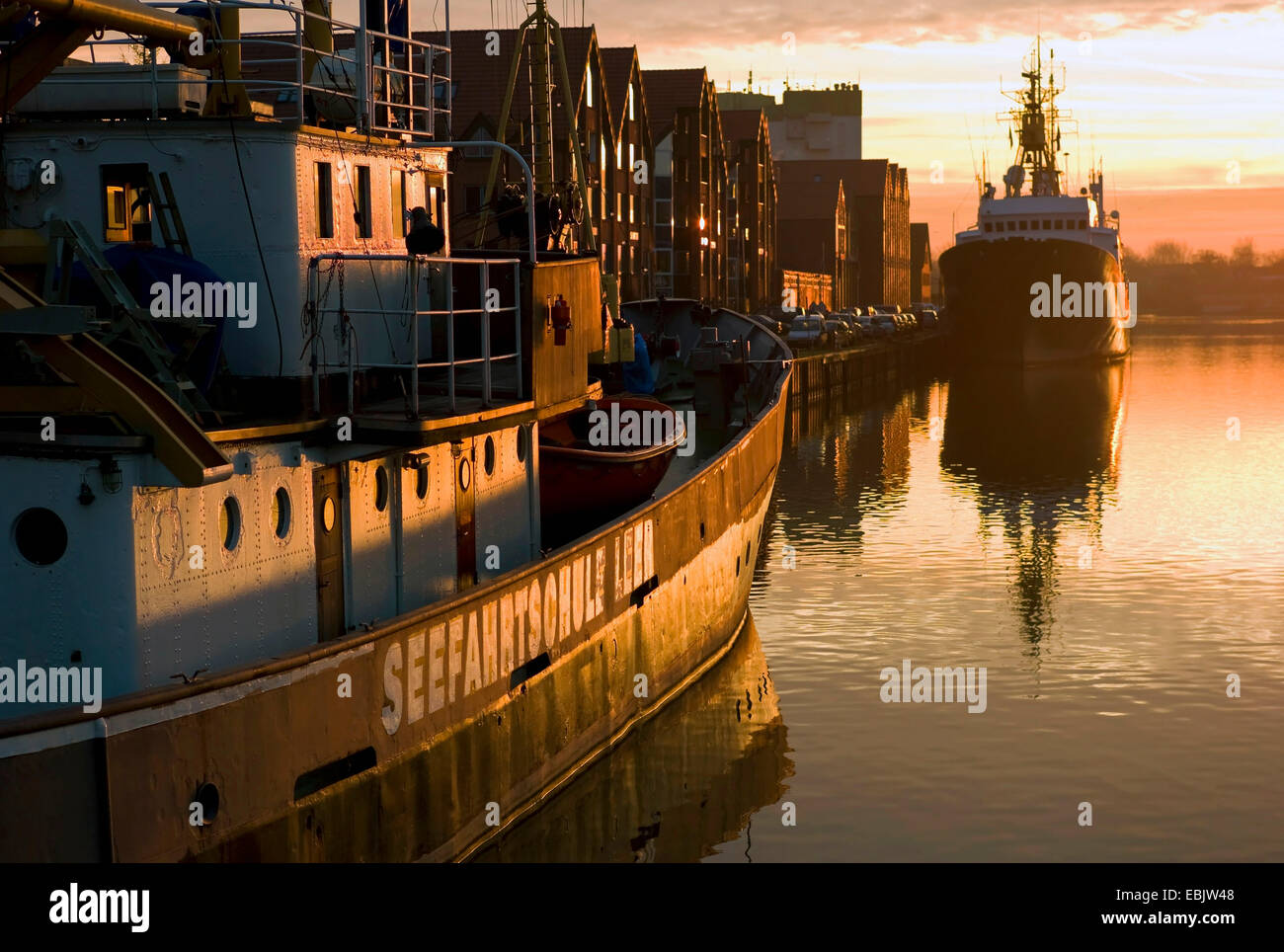 training ship of the nautical college Leer at the landing bridge, Germany, Lower Saxony, Leer - Stock Image