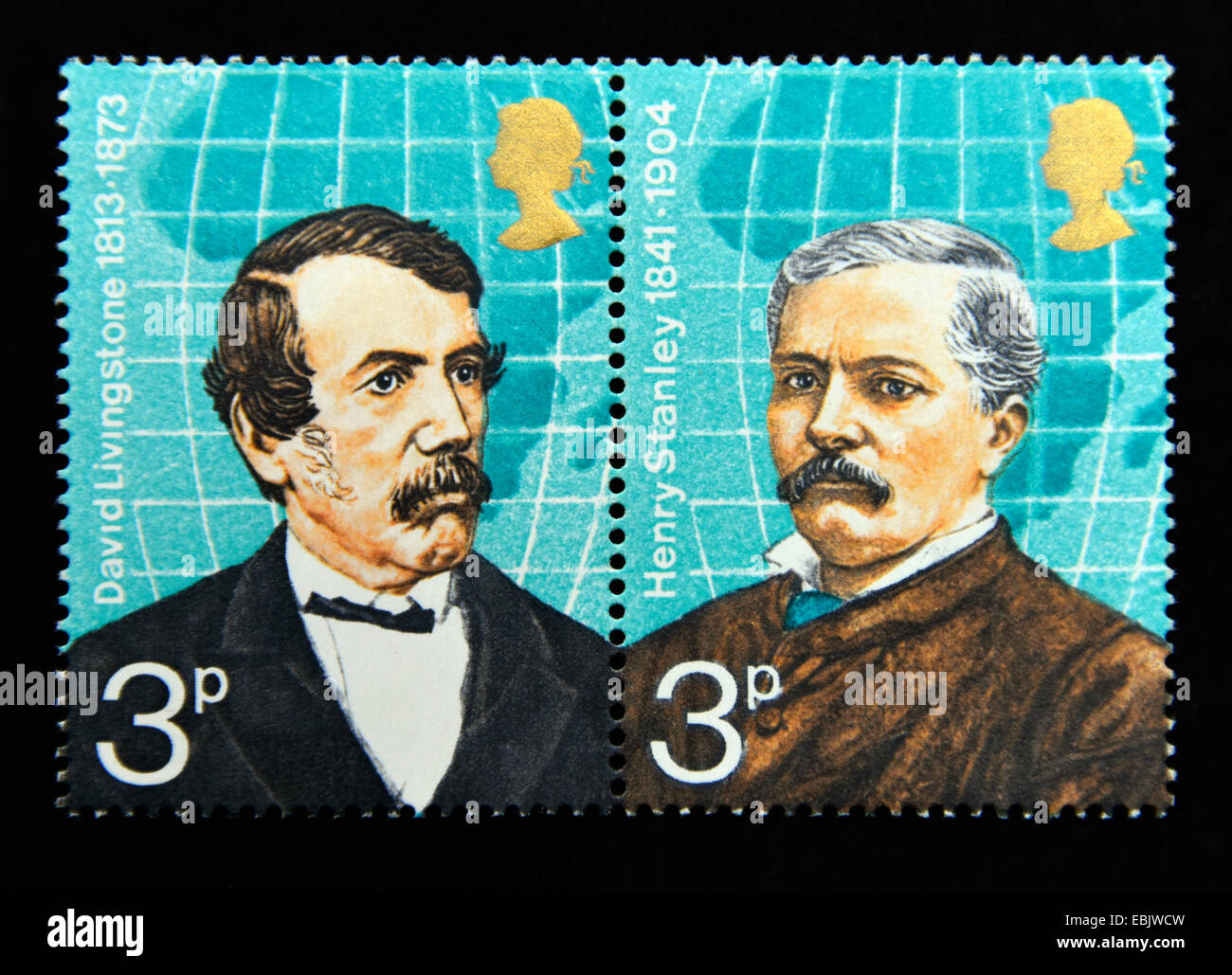Postage stamps. Great Britain. Queen Elizabeth II. British Explorers. 1973. David Livingstone and Henry Stanley. - Stock Image