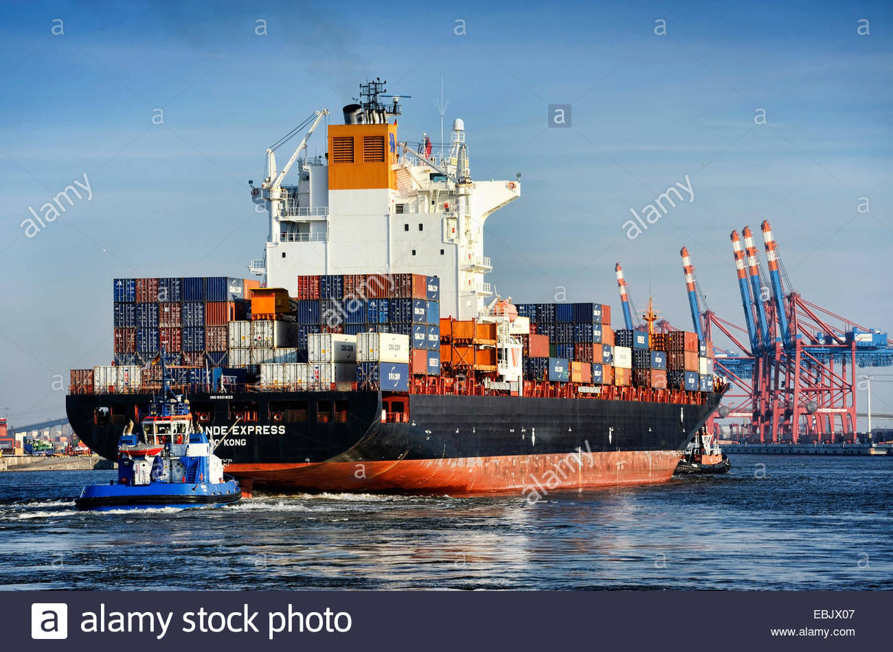 cargo ship Rio Grande Express at the Waltershofer Hafen, Germany, Hamburg Stock Photo