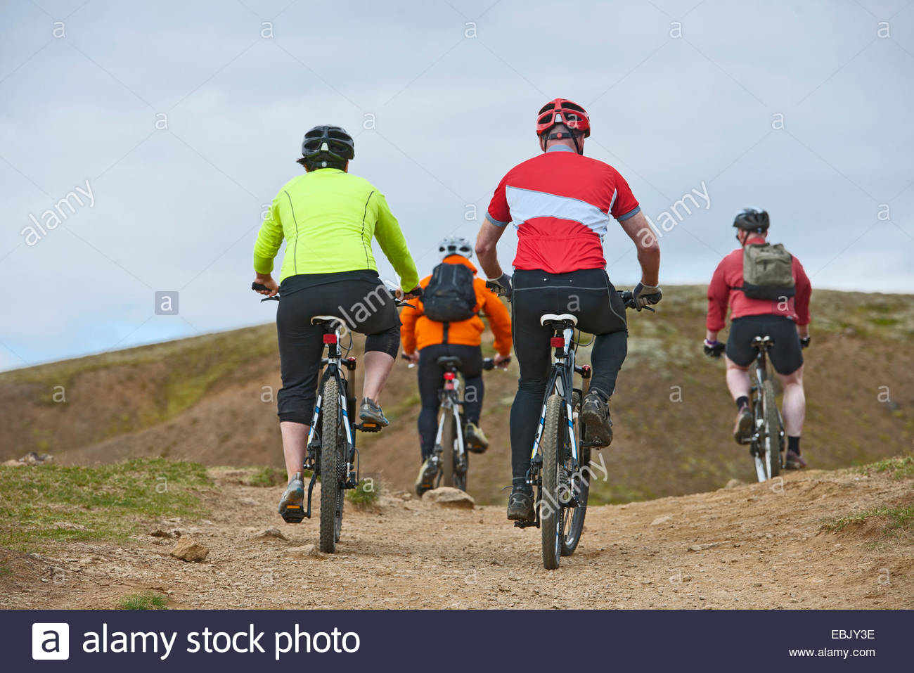 Rear view of four mountain bikers cycling through Reykjadalur valley, South West Iceland - Stock Image
