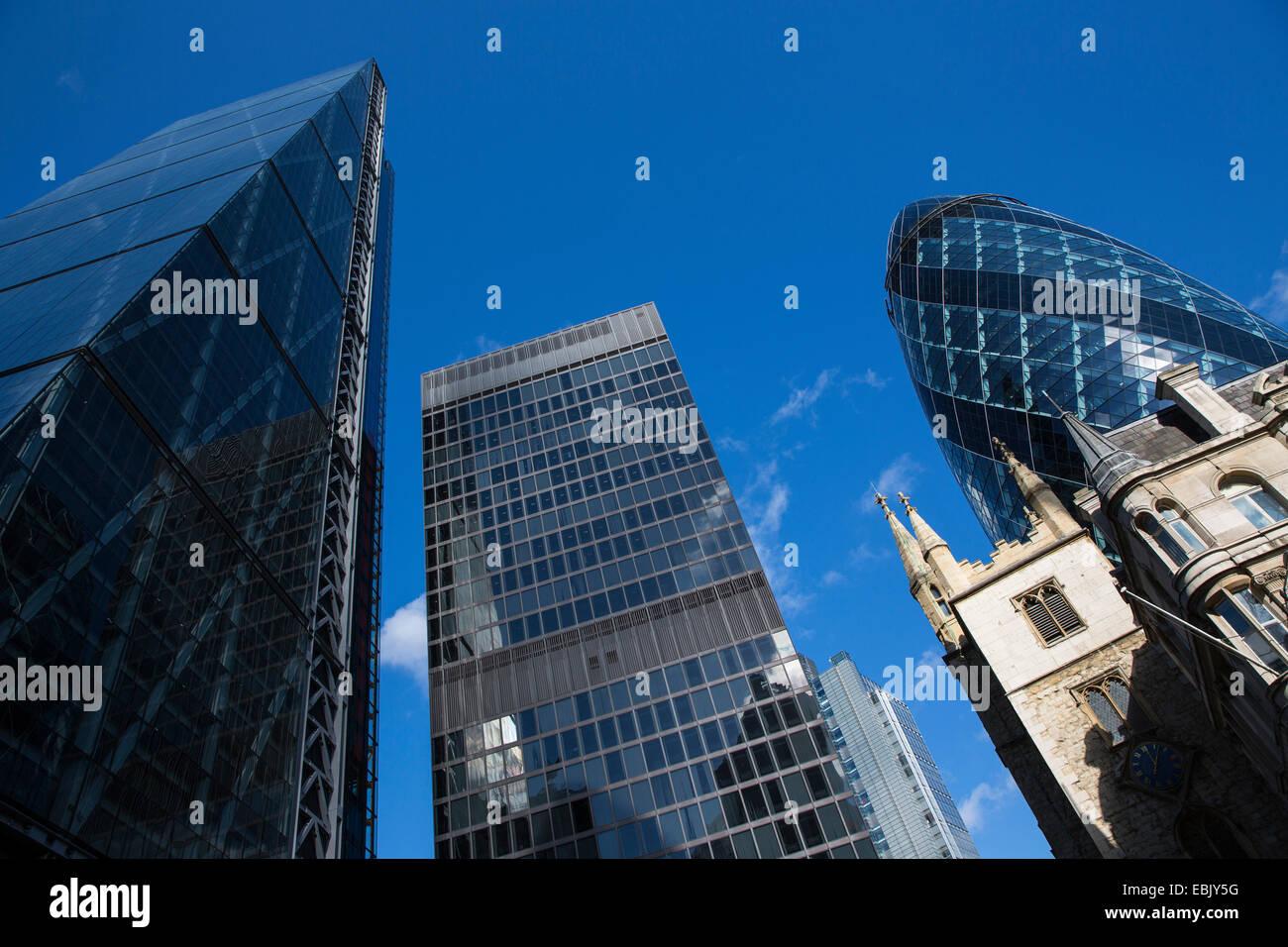 Canary Wharf, Gherkin, St Andrew Undershaft, London, England - Stock Image