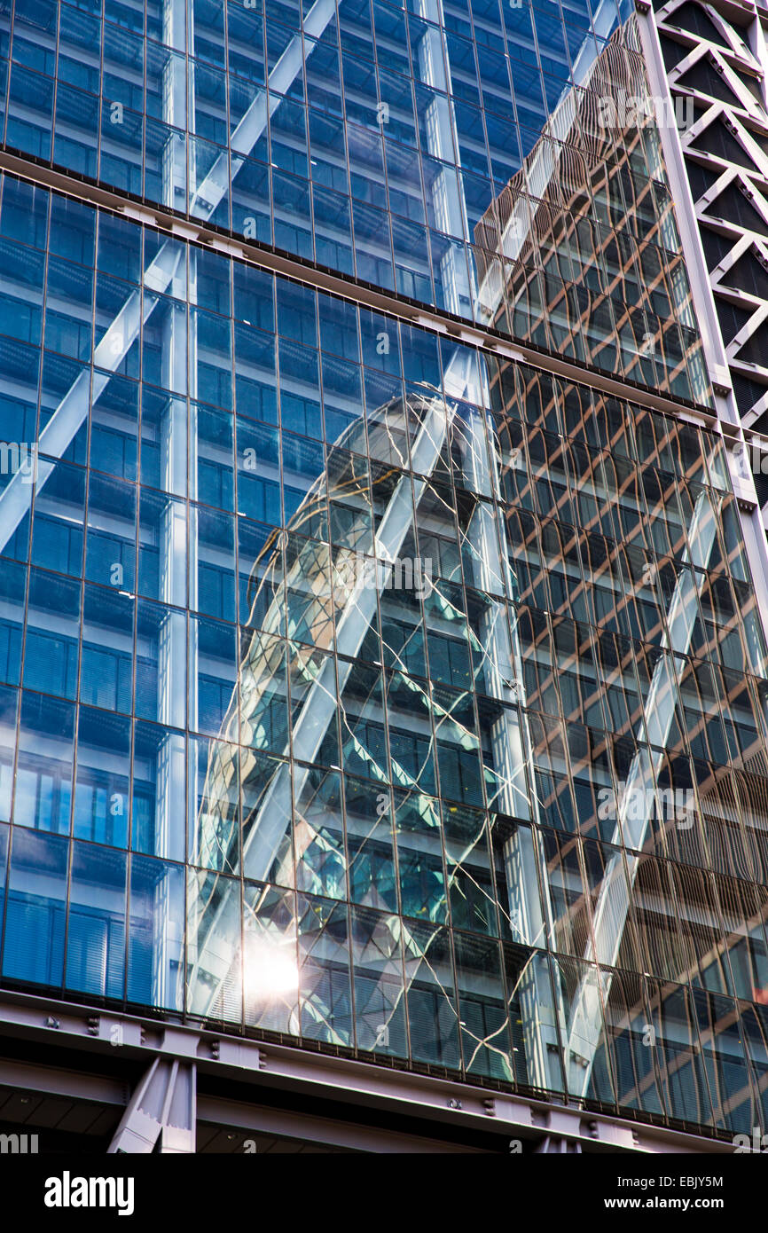The Gherkin reflected in Leadenhall Building, London, England - Stock Image