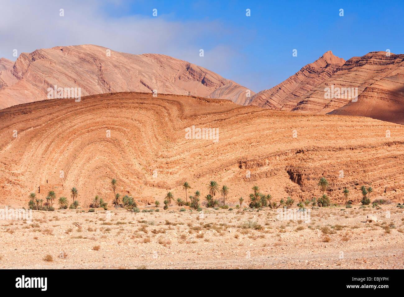 folds at mountain slope near Tata in South Morocco, Morocco, Antiatlas, Tata - Stock Image