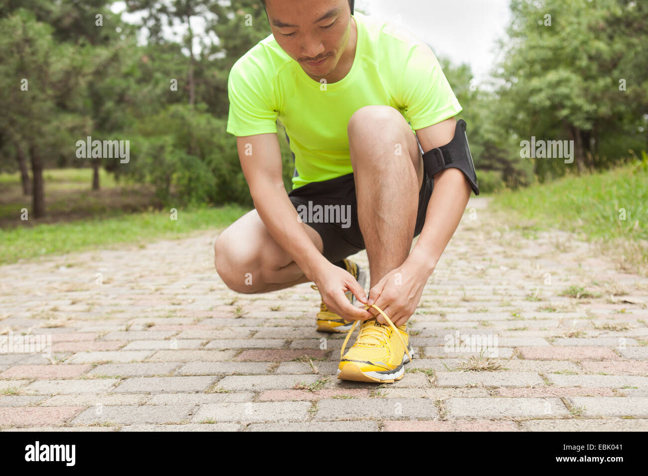 Young male runner tying trainer laces in park - Stock Image