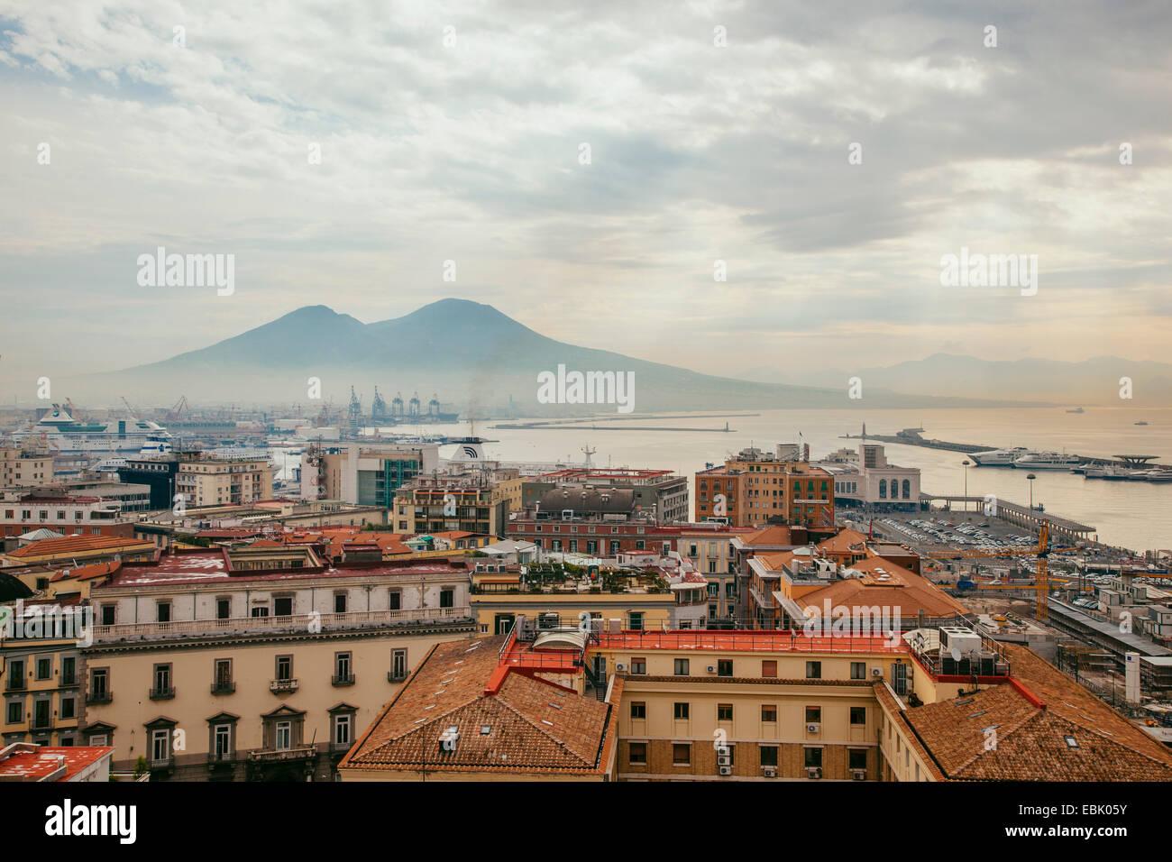 View of Mount Vesuvius over Naples, Italy - Stock Image