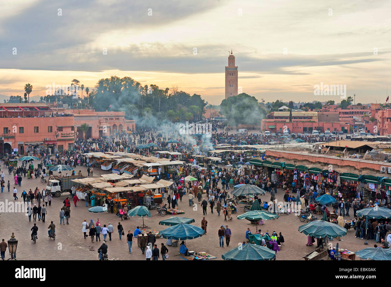 market place Djemaa el Fna in the evening, Morocco, Marrakesh Stock Photo