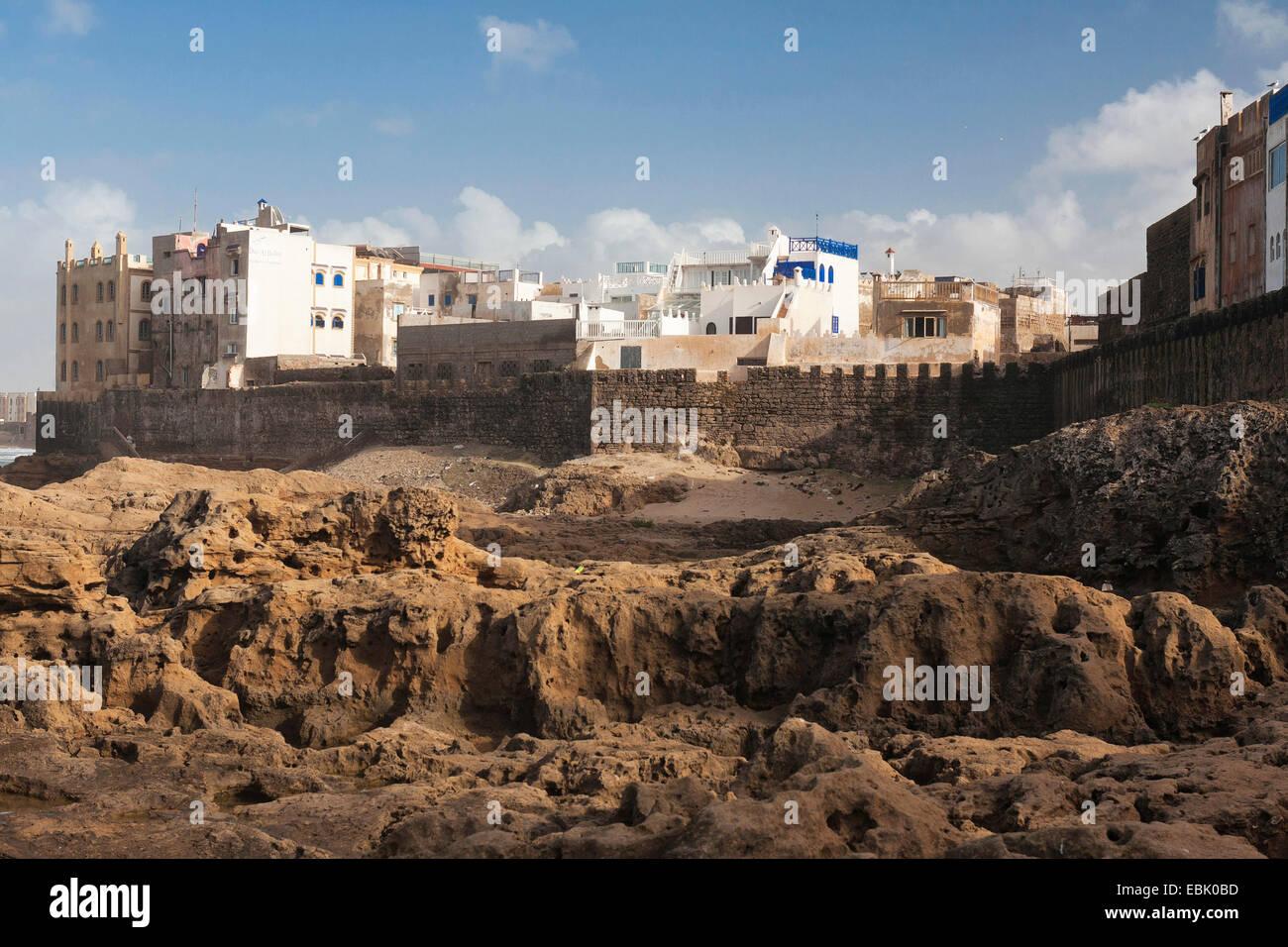 city wall of Essaouira, Morocco, Mauer, Essaouira - Stock Image