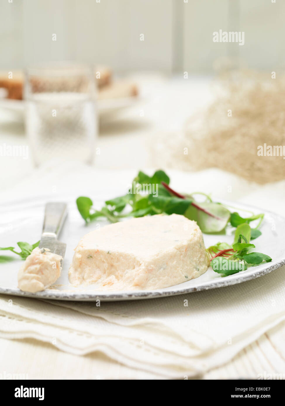 Plate of Scottish poached salmon terrines on savory biscuits chard salad garnish - Stock Image