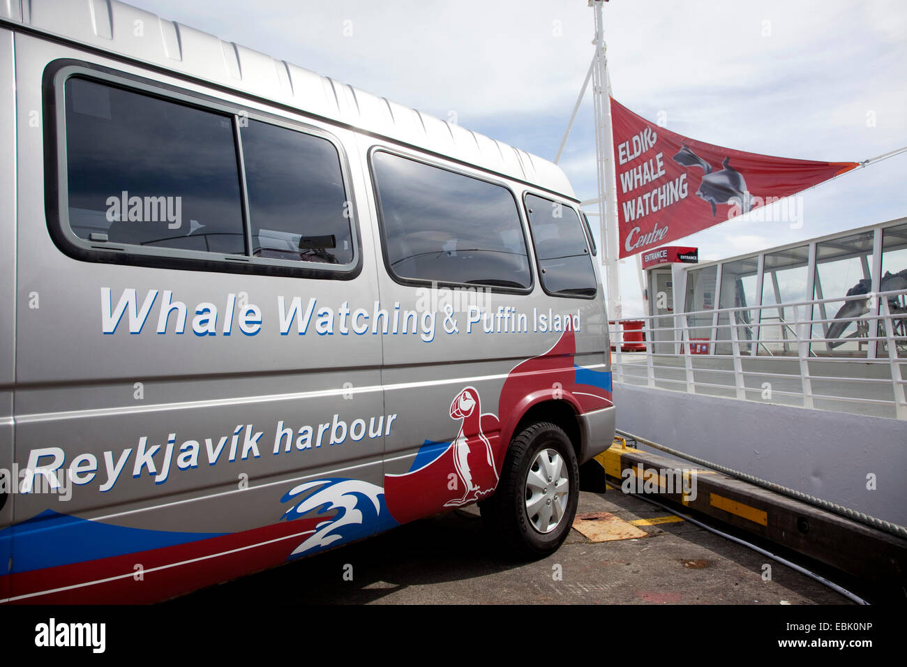 promotions for whale and seabird watching tours at mini bus, Iceland, Reykjavik - Stock Image