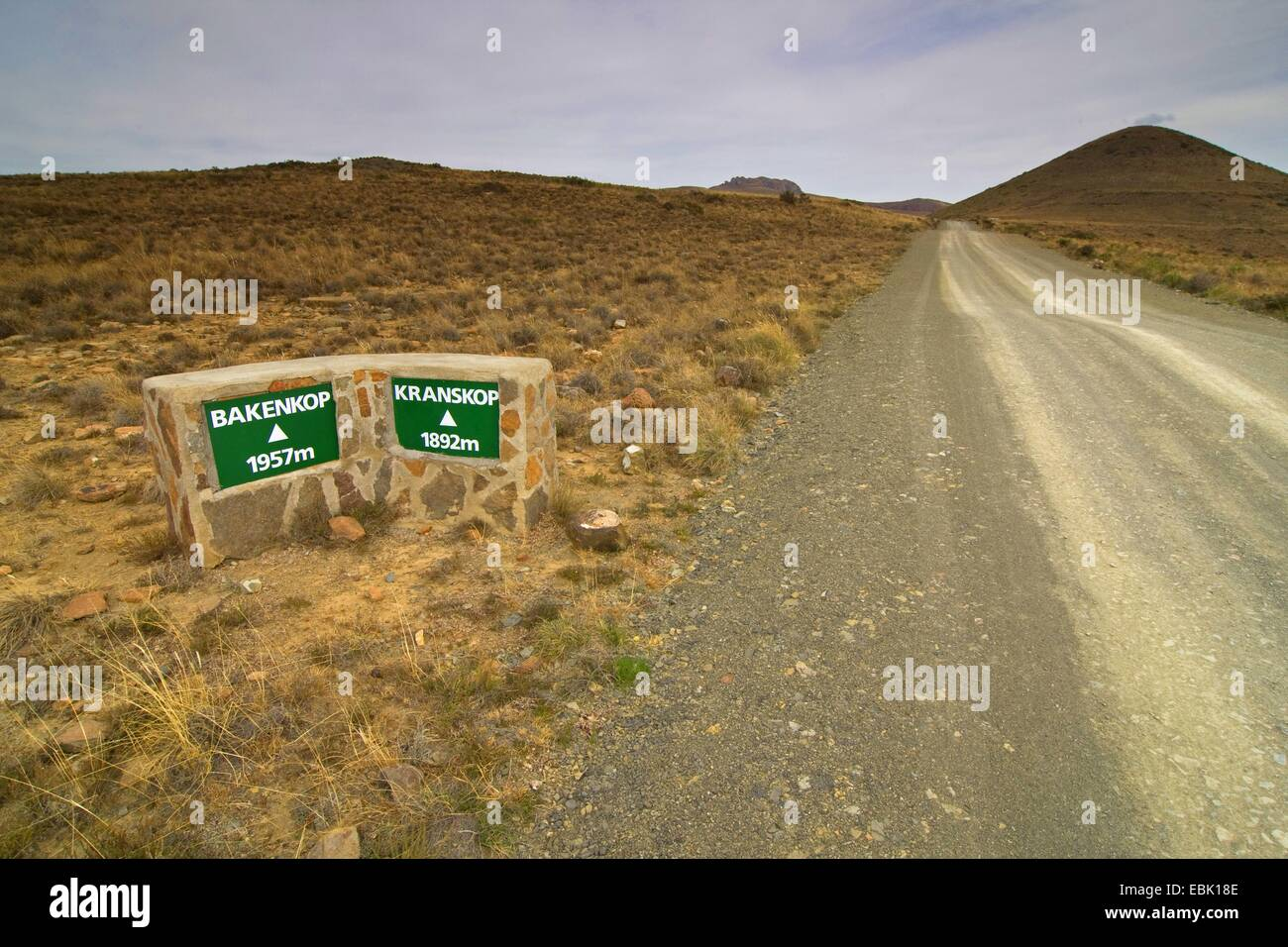 sign, height indications of surrounding mountains, South Africa, Eastern Cape, Mountain Zebra National Park - Stock Image