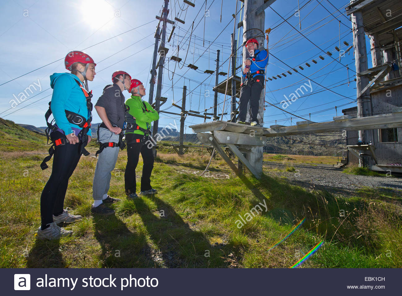 Four people wearing climbing helmets on high rope course Stock Photo