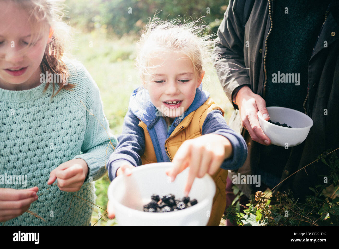 Two girls holding blackberries in bowl - Stock Image