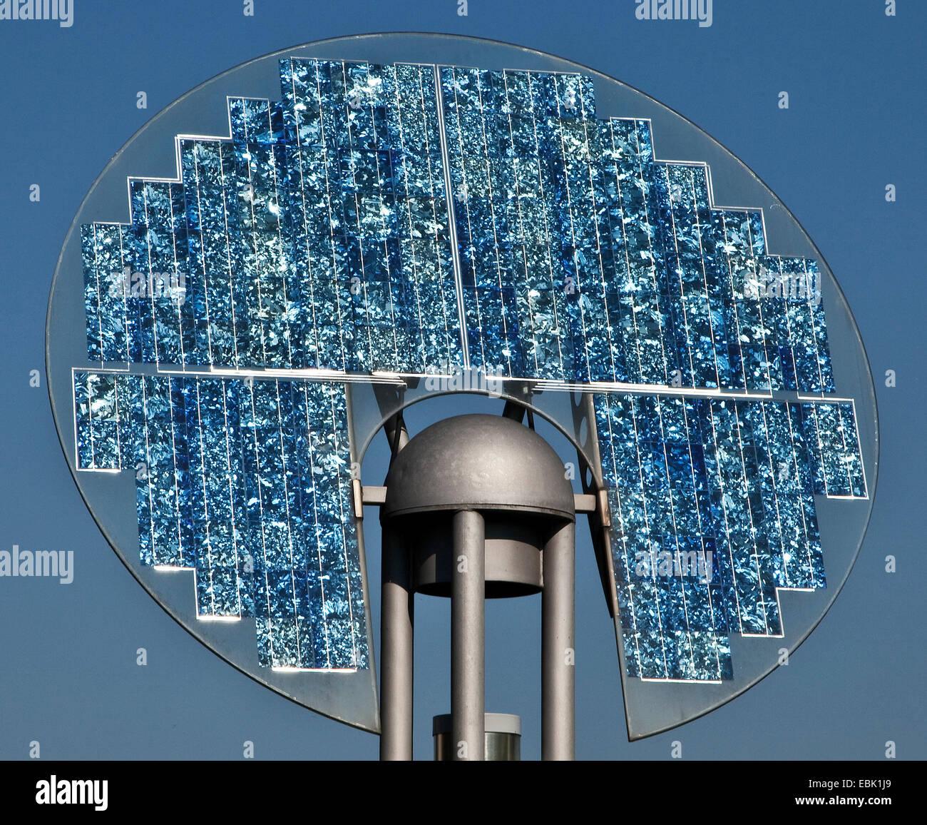 sculpture with solar panel of Solarworld, Germany, North Rhine-Westphalia, Ruhr Area, Gelsenkirchen - Stock Image