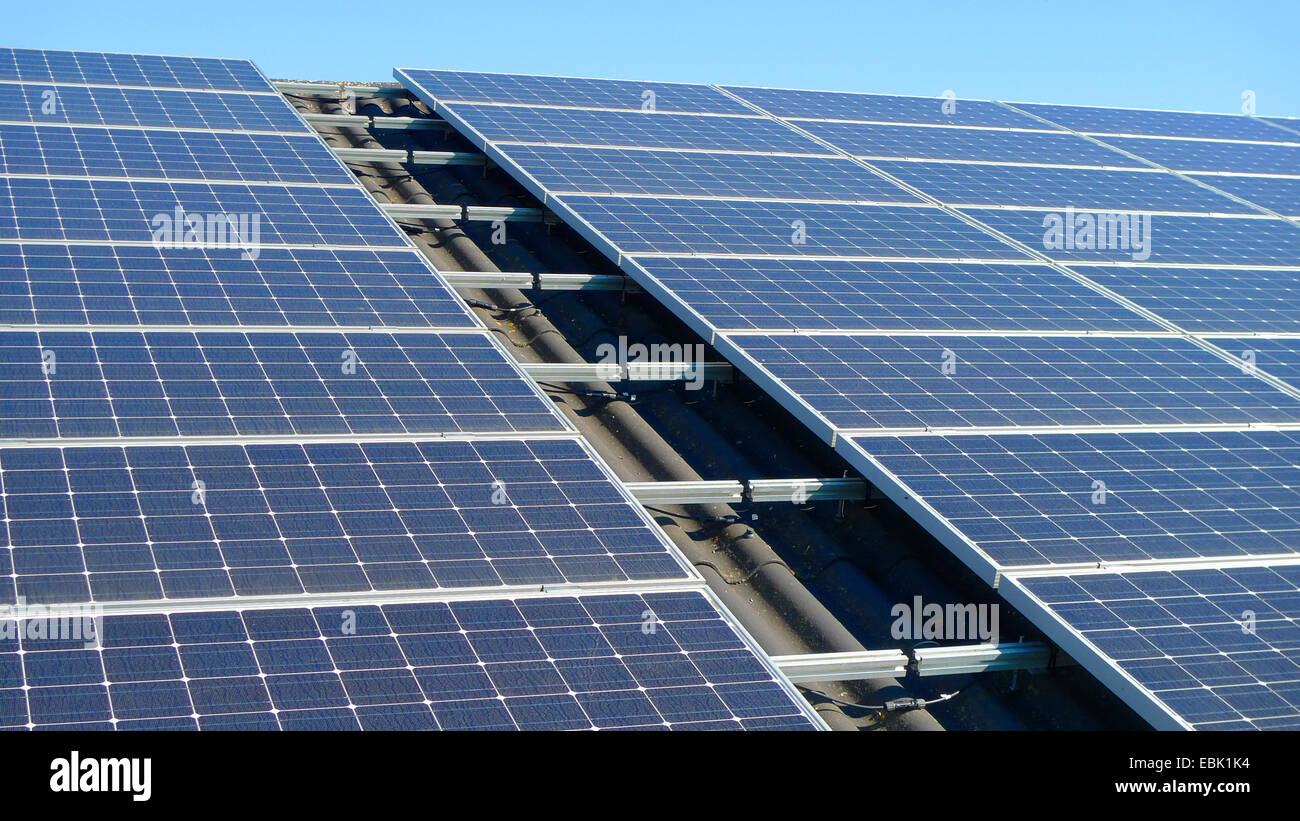 roof with solar panels, Germany - Stock Image