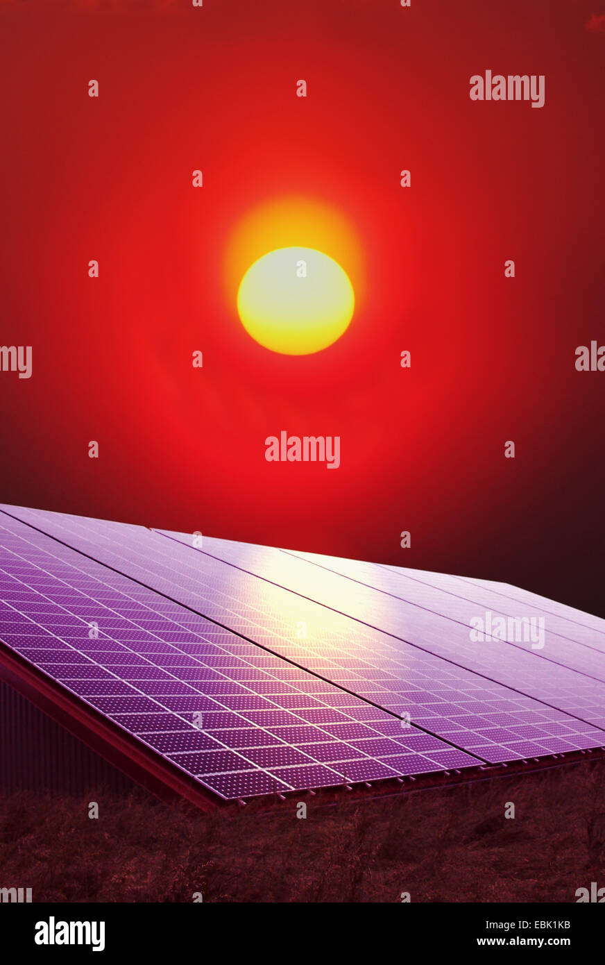 solar panel and sun, Germany - Stock Image