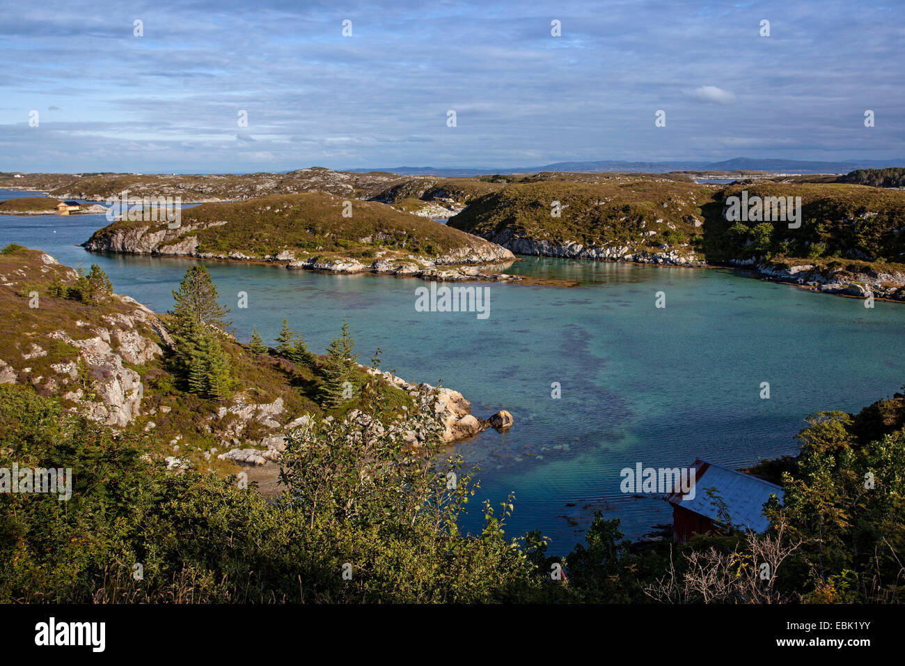 fjord landscape, Norway, Hitra - Stock Image