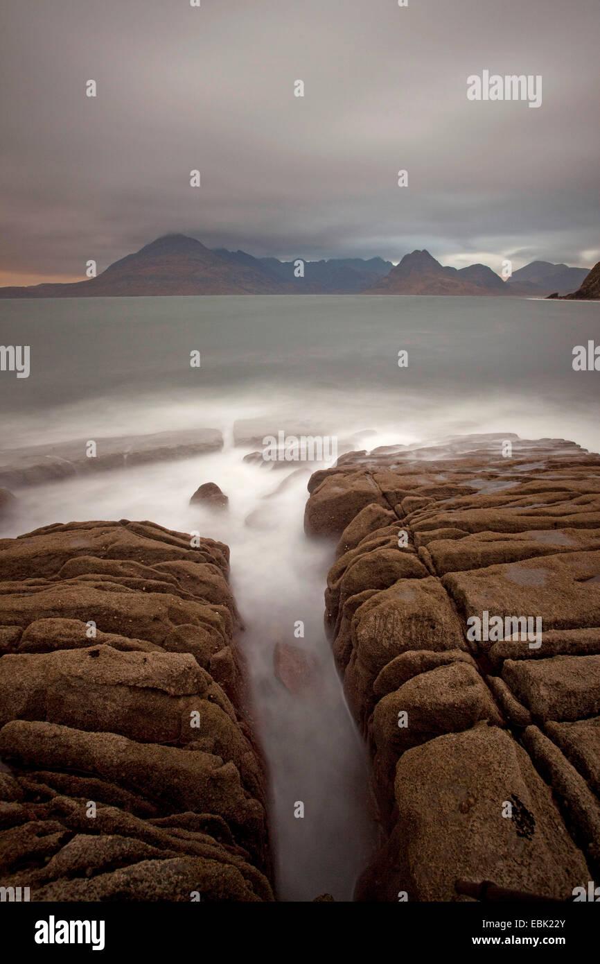 Elgol beach, longtime exposure, United Kingdom, Scotland, Isle Of Skye - Stock Image
