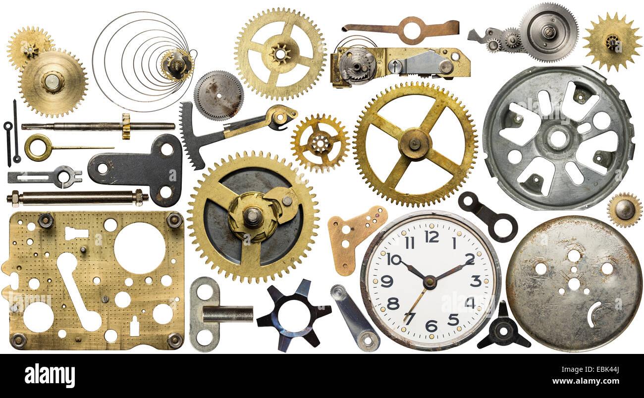 Clockwork spare parts. Metal gear, cogwheels, dial. - Stock Image