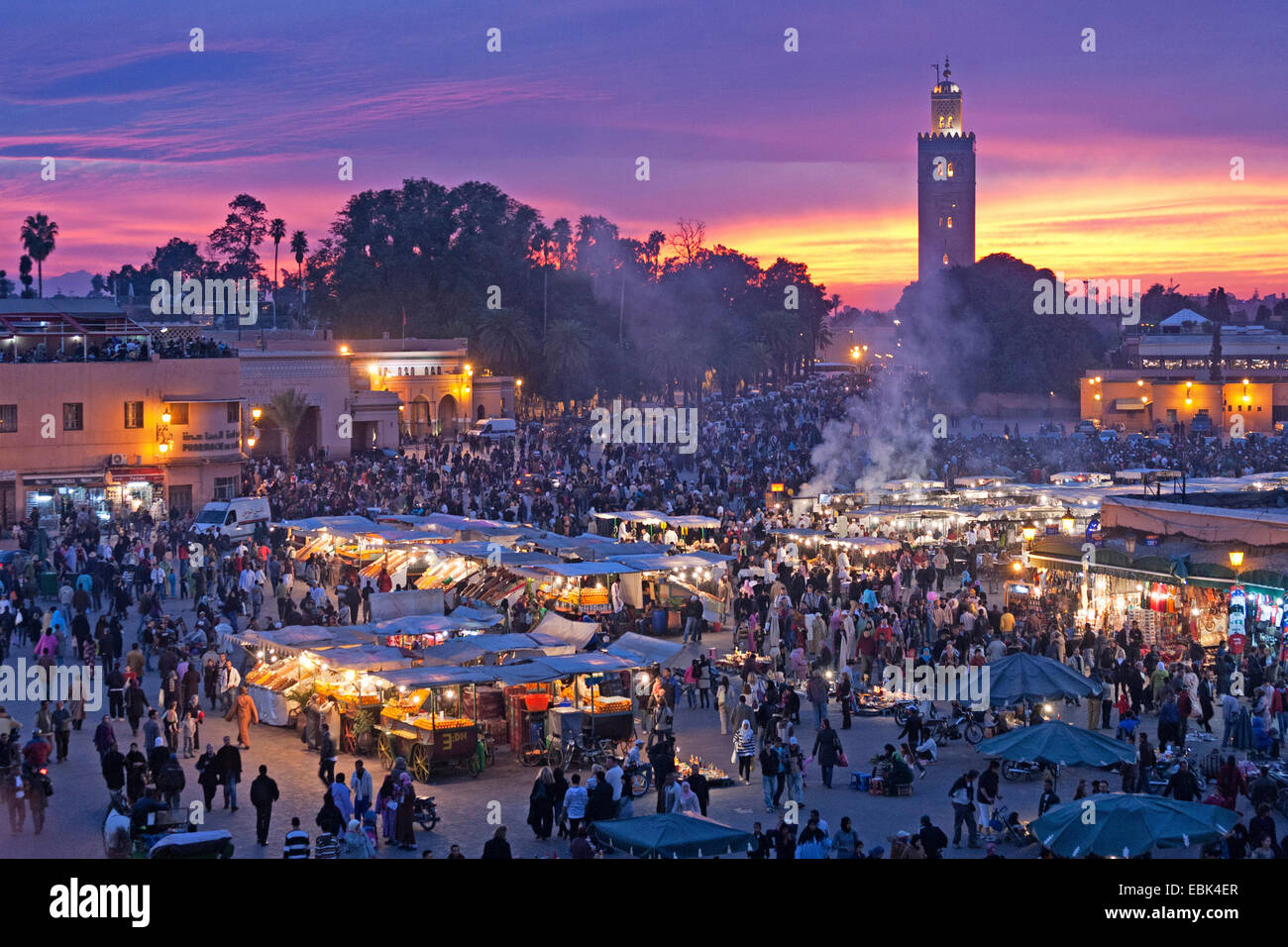 market place Djemaa el Fna in the evening, Morocco, Marrakesh - Stock Image