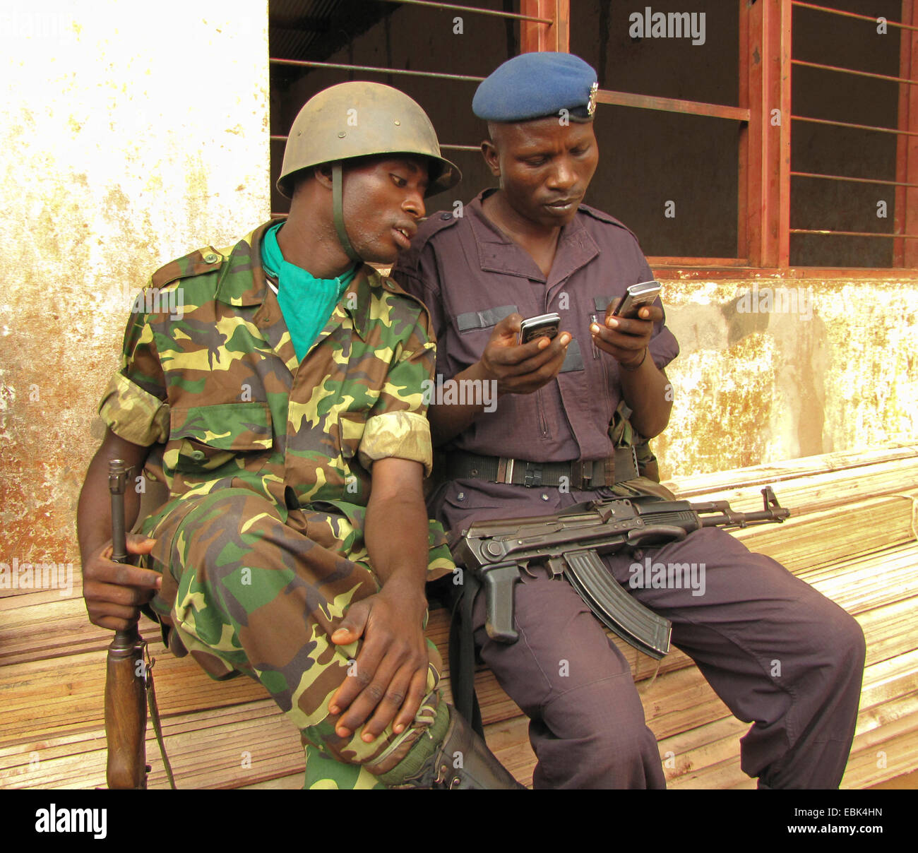 two members of the guard of honour of the burundian army at the festivities for the International Day of Human Rights - Stock Image