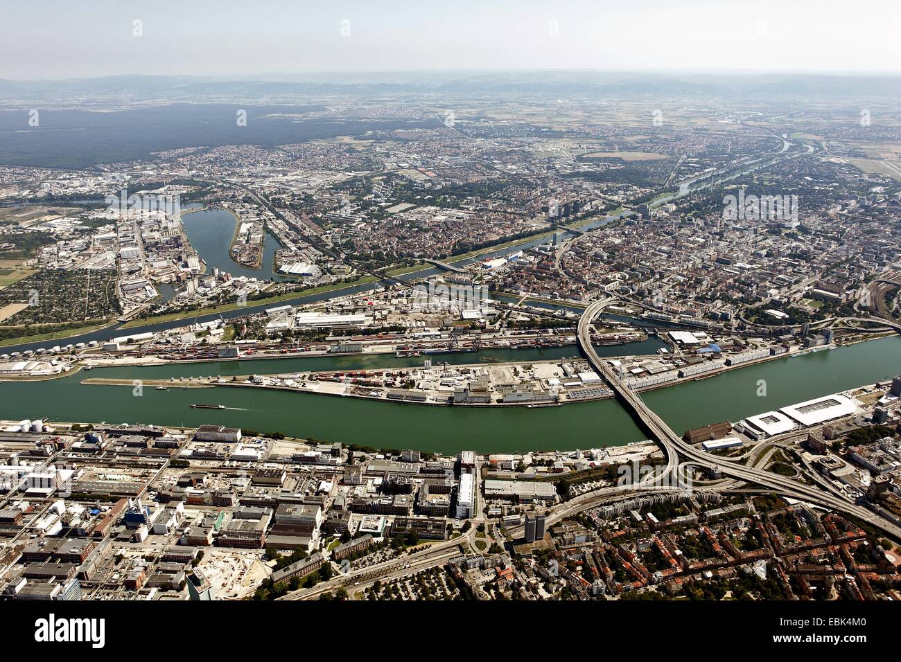aerial view to Mannheim inland port, Ludwigshafe in foreground, Germany, Baden-Wuerttemberg, Mannheim - Stock Image