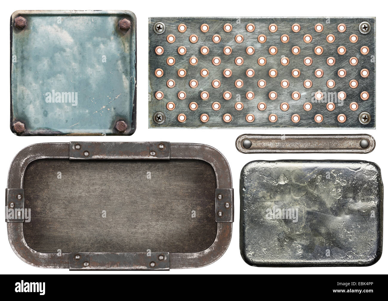Various metal textures, isolated on white background - Stock Image