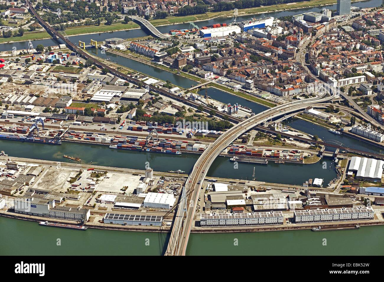 aerial view to Mannheim inland port, Germany, Baden-Wuerttemberg, Mannheim - Stock Image
