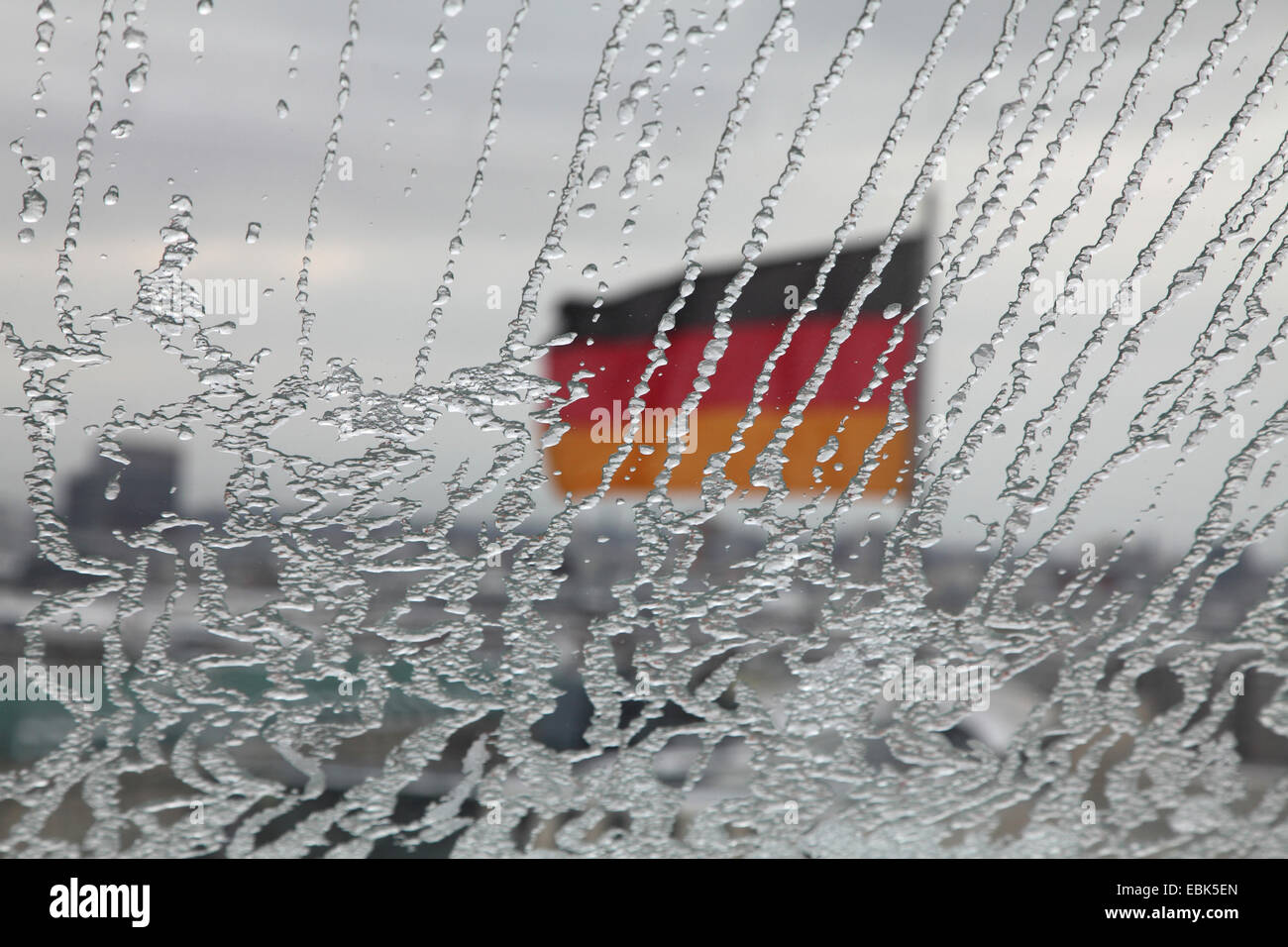 frosted cupola of the Reichstag with German flag, Germany, Berlin - Stock Image