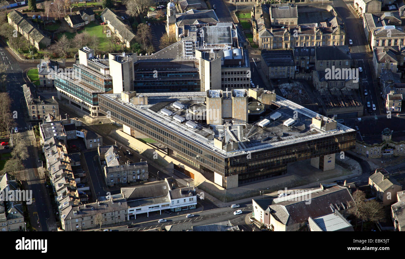 aerial view of the former Halifax Building Society HQ in Halifax, West Yorkshire, UK - Stock Image