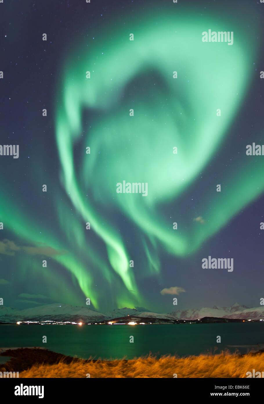aurora eddy, Norway, Troms, Kvaloeya - Stock Image
