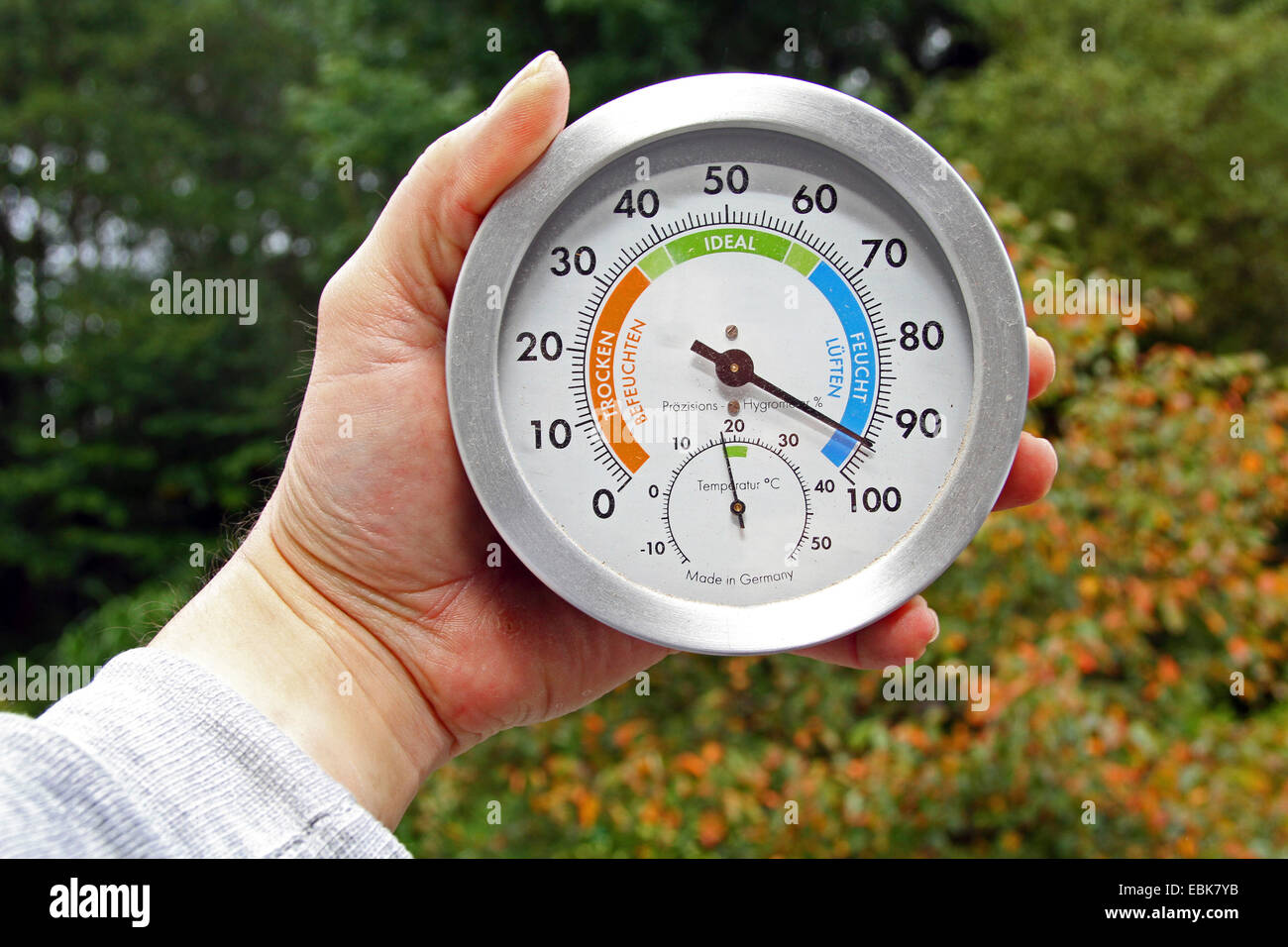 hygrometer measuring the air humidity - Stock Image