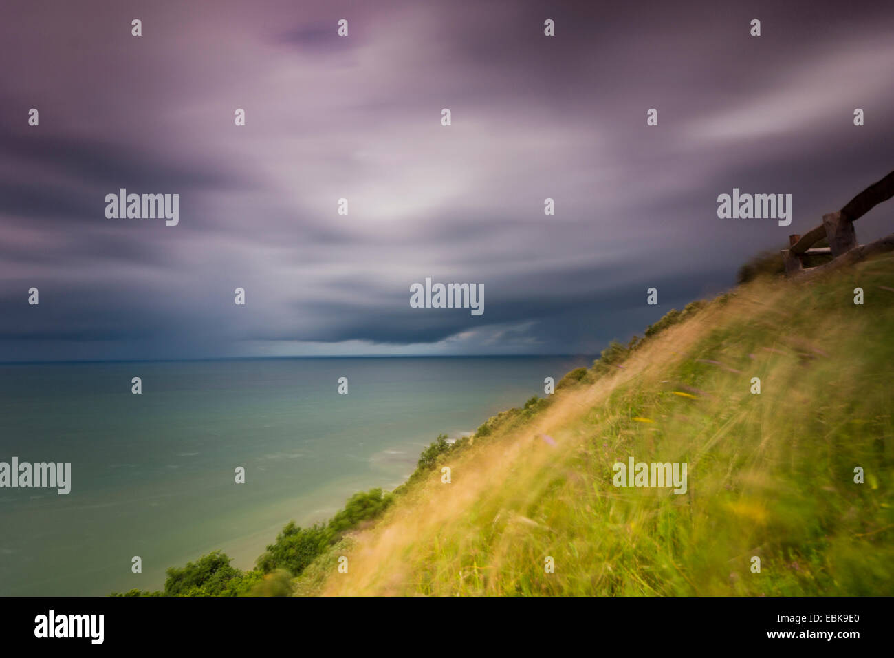 moving longtime exposure over the Blatic Sea, longtime exposure, Germany, Mecklenburg-Western Pomerania, Hiddensee, - Stock Image