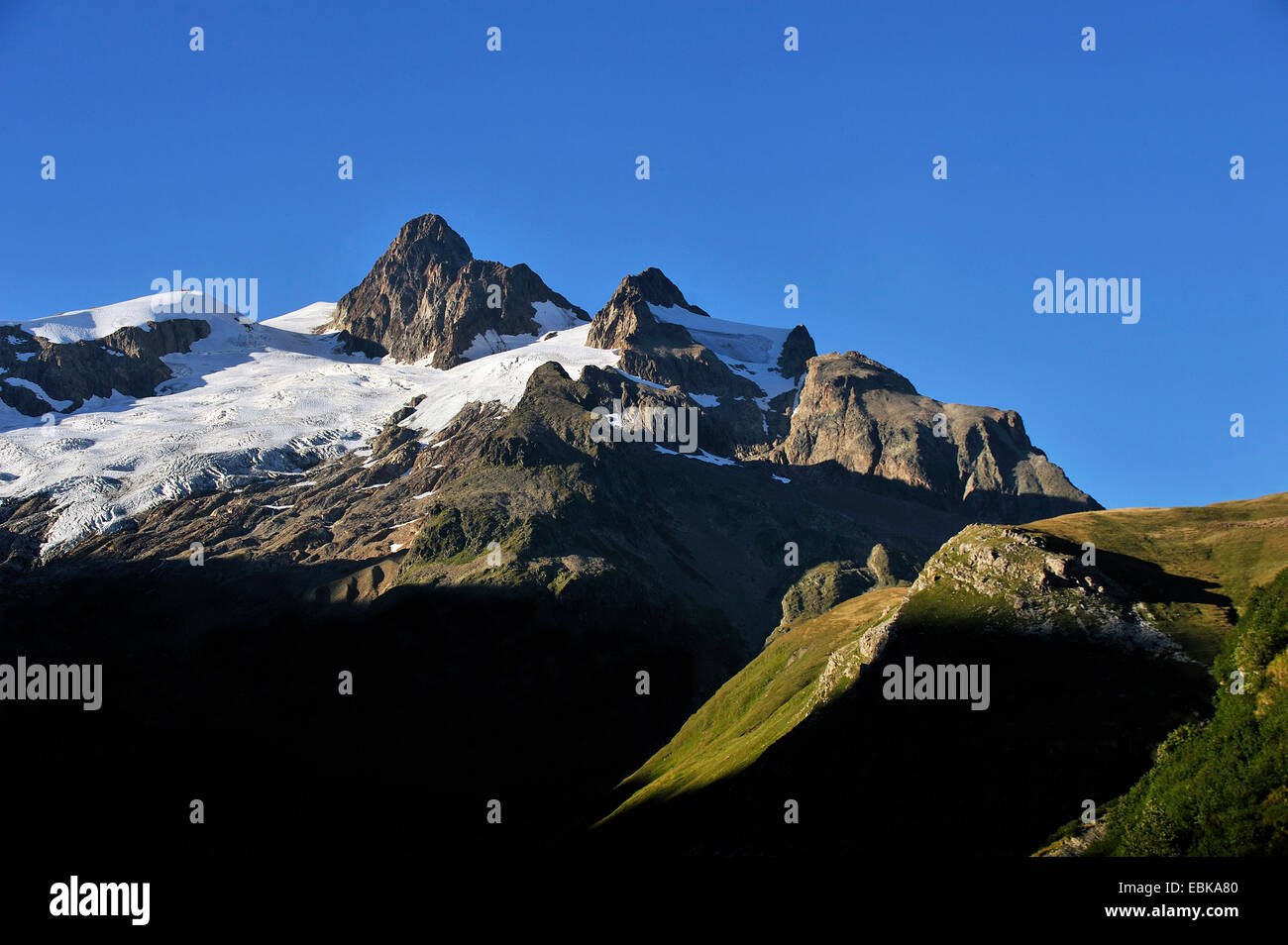 summerly panoramic view at the Aiguille des Glaciers Aiguille des Glaciers (3,816 m) covered with glaciers and remains Stock Photo