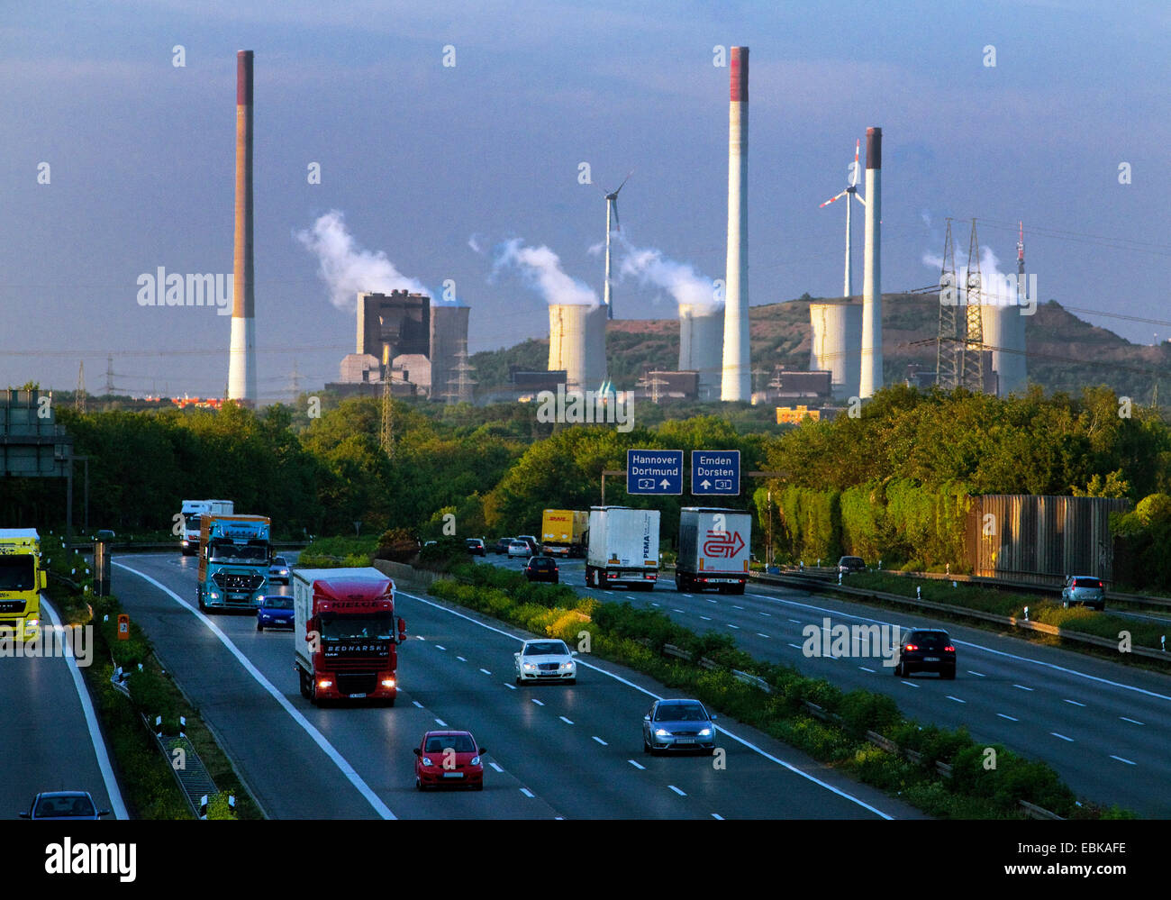 traffic on motorway A2 and coal-fired power plant Scholven, Germany, North Rhine-Westphalia, Ruhr Area, Gelsenkirchen Stock Photo
