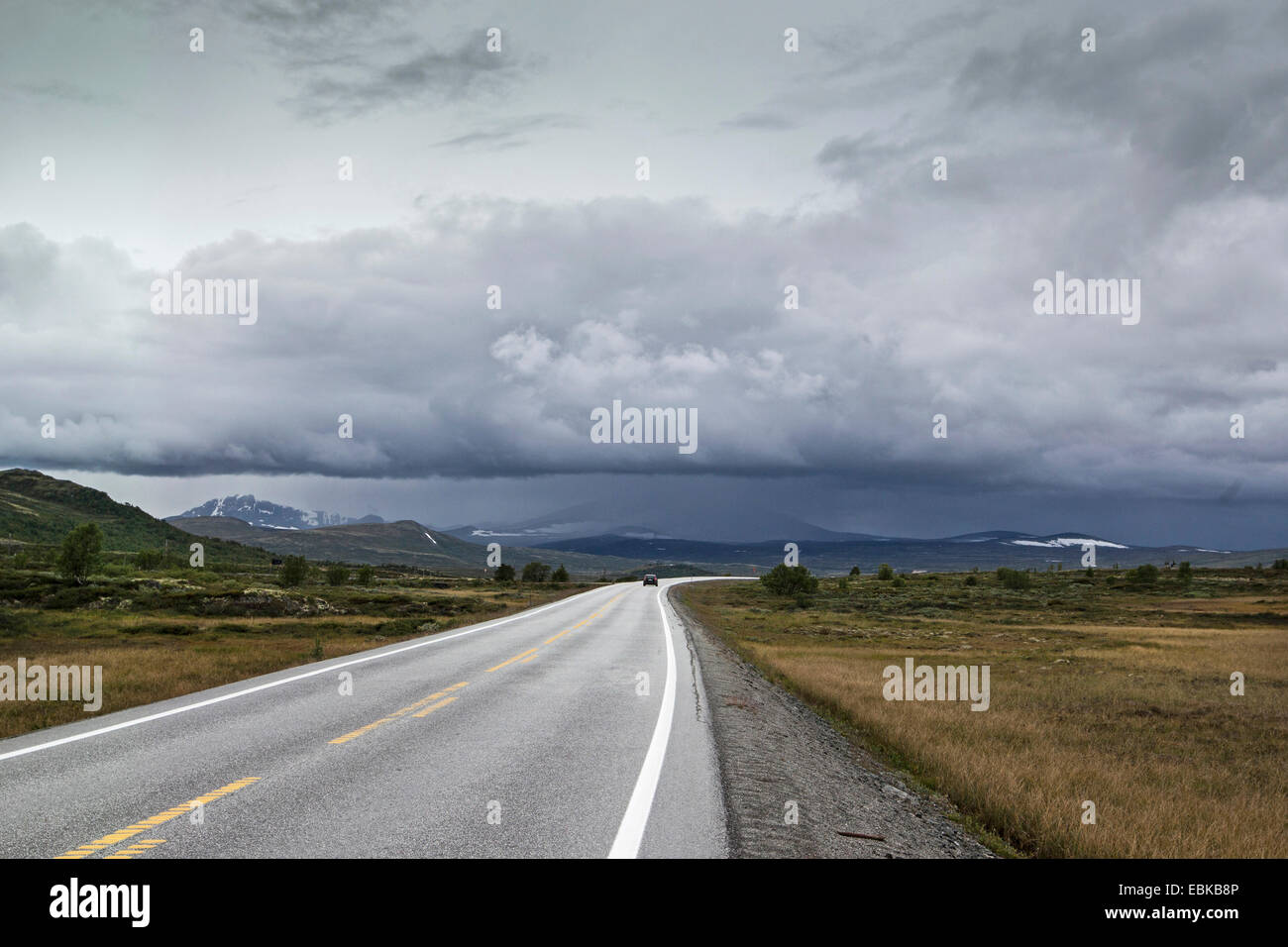 rain clouds over country road, Norway, Dovrefjell Sunndalsfjella National Park, Kongsvoll - Stock Image