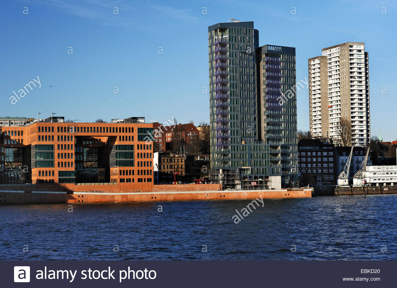 office buildings Holzhafen West and residential tower Kristall, Germany, Hamburg Stock Photo