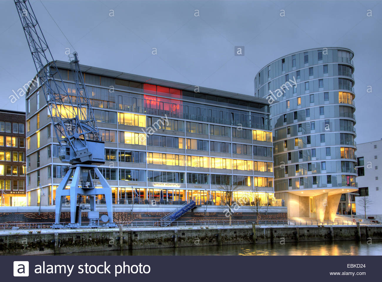 Hamburg Hafencity with Messmer Momentum and residential buildings Oval in the evening, Germany, Hamburg Stock Photo