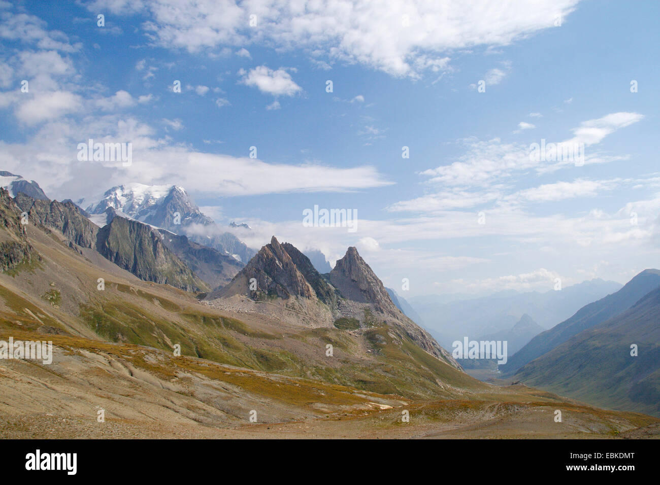 view from Col de la Seigne (France/Italy) to teh Val Veny (Italy), with Mont Blanc and Pyramides Calcaires, France - Stock Image