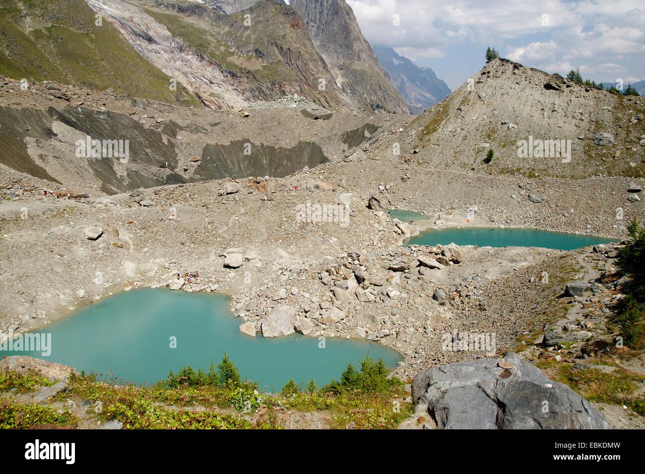 Lac du Miage, Moraine Glacier du Miage in Val Veny, Italy - Stock Image
