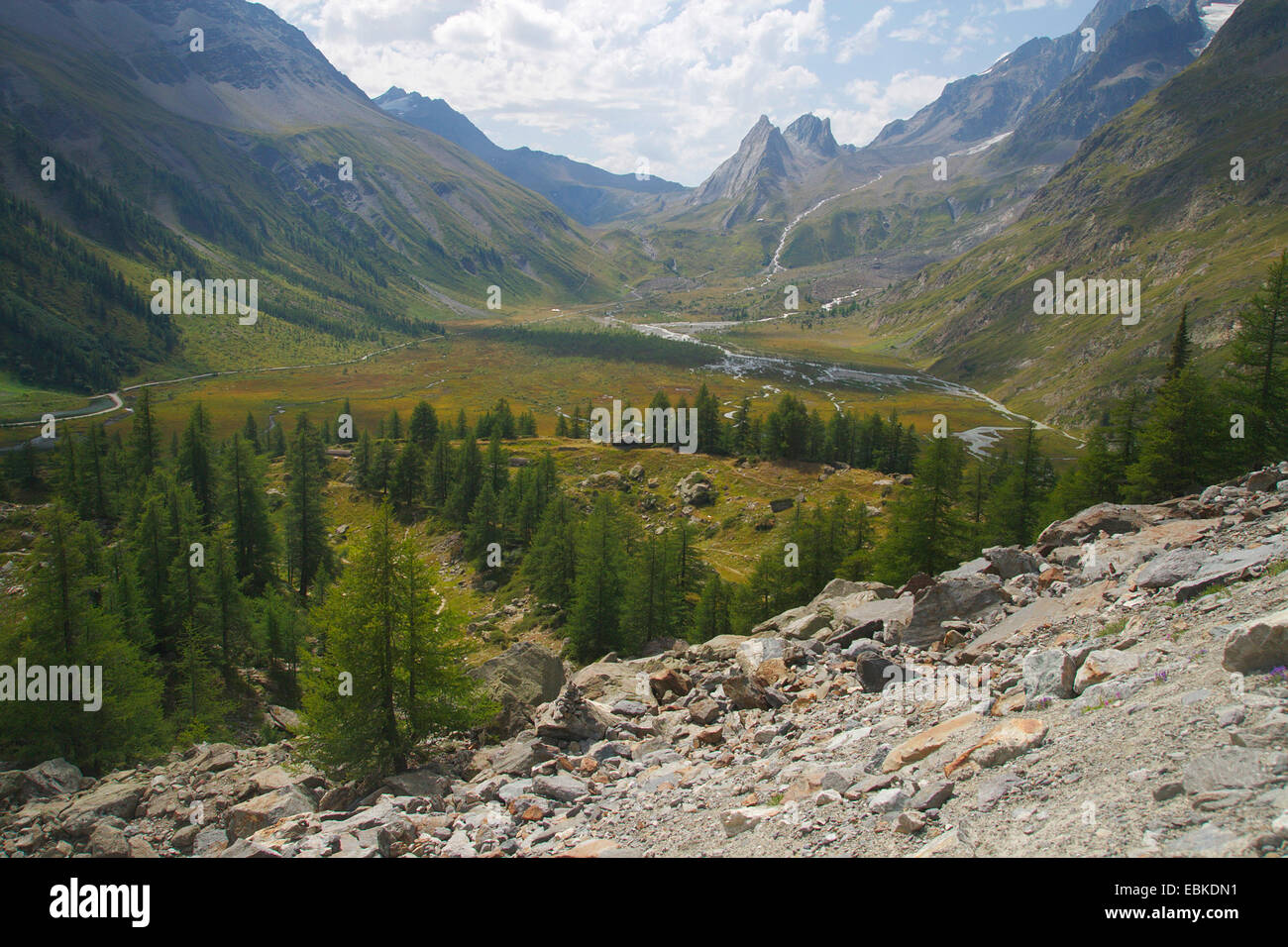 Val Veny, view from Moraine of Glacier du Miage, Italy - Stock Image