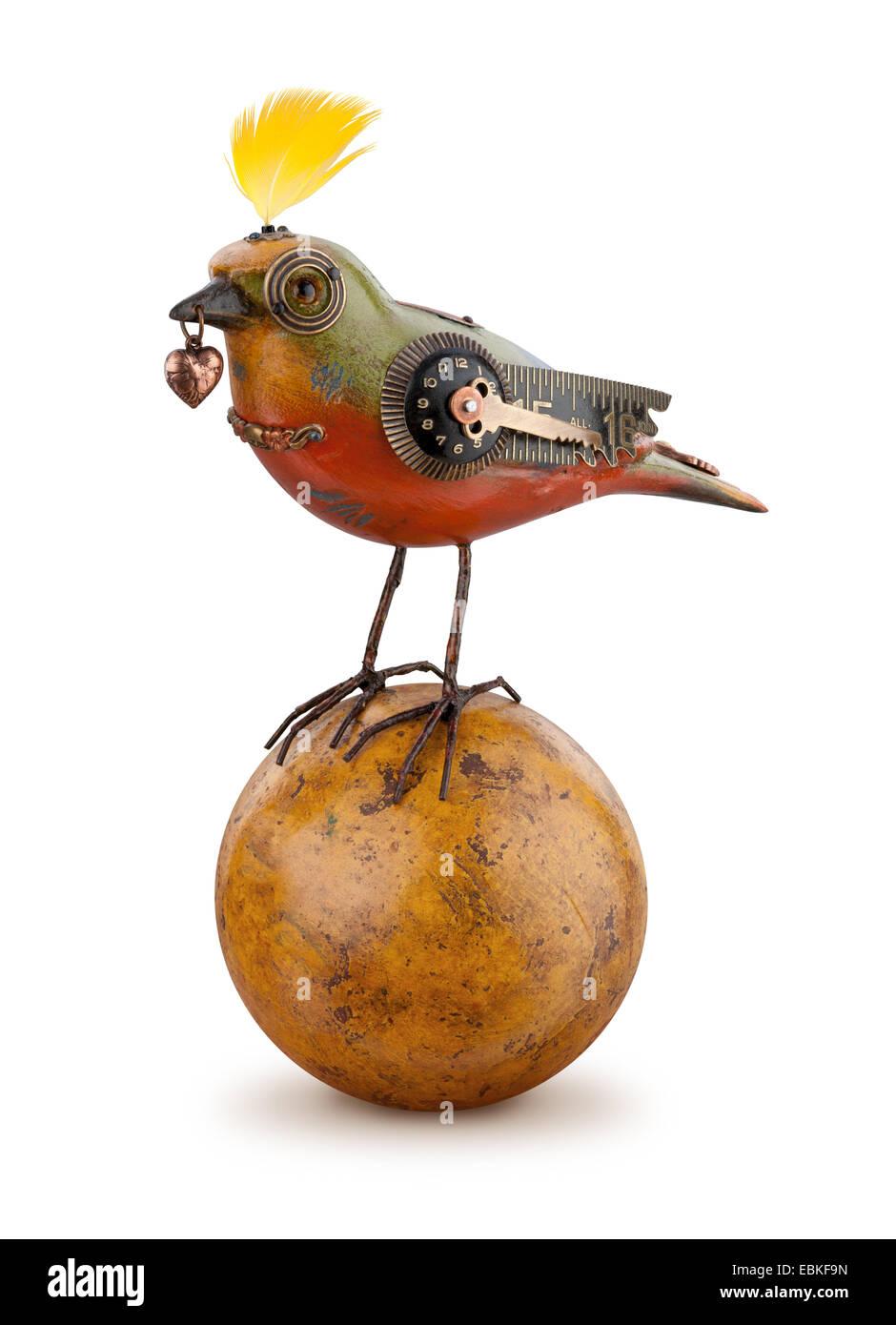 Steampunk Mechanical Bird isolated. - Stock Image