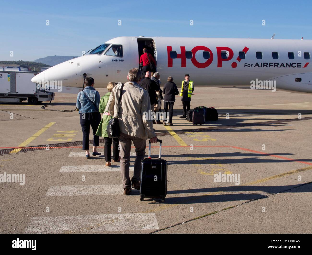 Airplane of the French company Hop, Aulnat, Clermont-Ferrand, Puy-de-Dome, Auvergne, France, Europe - Stock Image