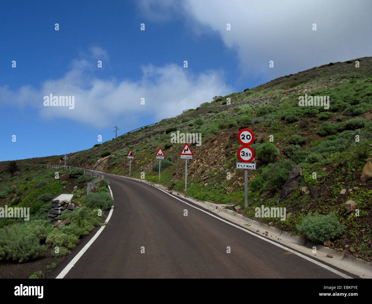 jungles of signs at a new street in the valley of Tazo, Canary Islands, Gomera - Stock Image
