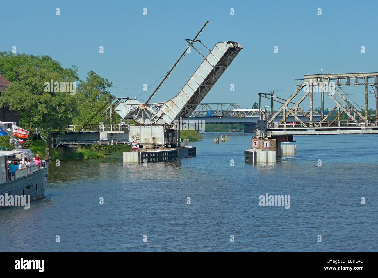old bascule bridge crossing Oder river, Poland, Poland, Podjuchy - Stock Image