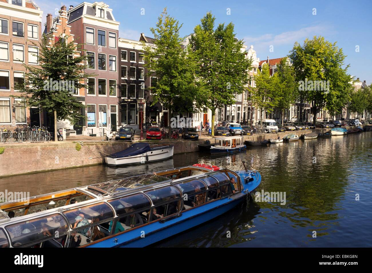 Tour Boat on the Prinsengracht canal , Amsterdam, Netherlands, Europe - Stock Image